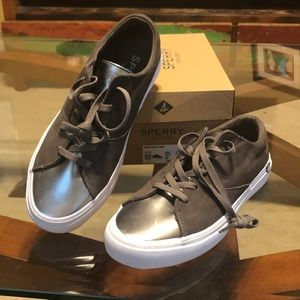Sperry Haven Lace Up Grey/Brown Metallic NIB
